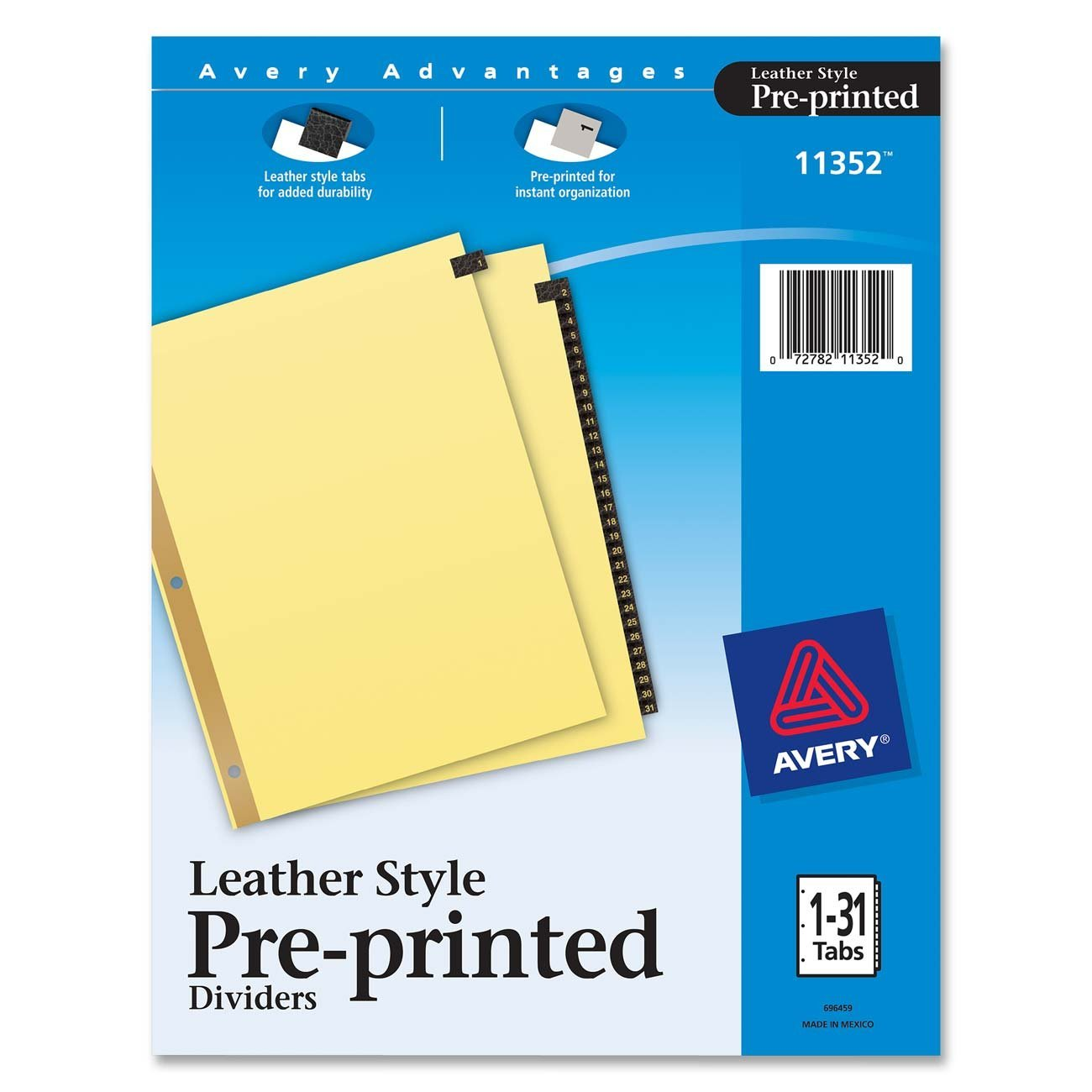 Avery Gold Reinforced Leather Tab Dividers 31 Tab 1 31 Letter