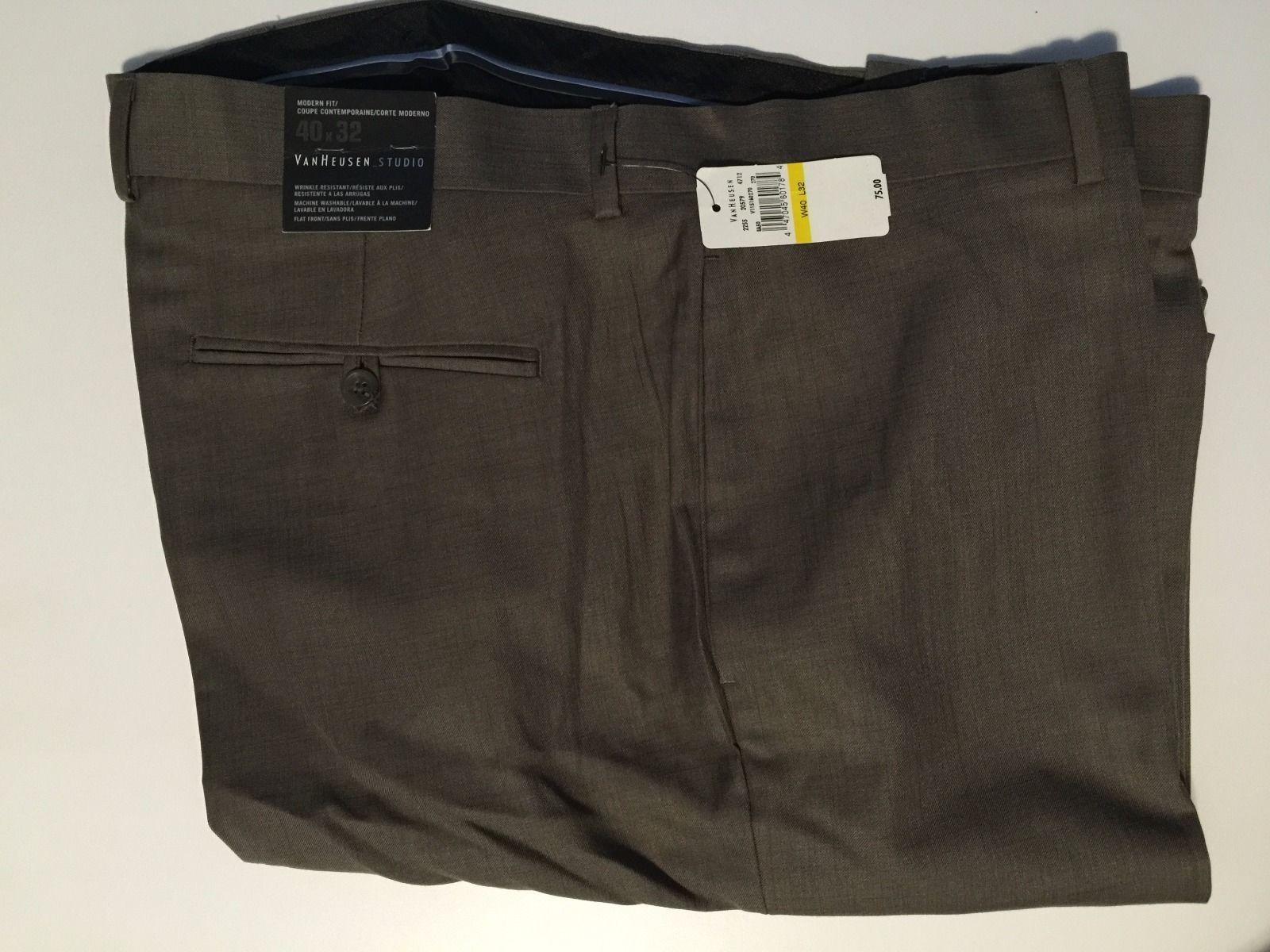 Van heusen studio modern fit flat front casual pants w40 for Van heusen studio shirts big and tall