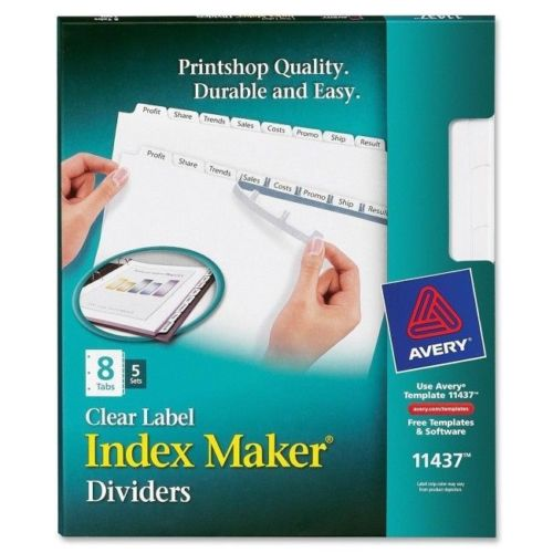 Avery Print Apply Clear Label Dividers White Tabs 8 Tab Letter 5