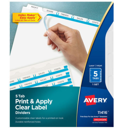 avery print on index divider white 11416 8 1 2 x11 cl ave11416