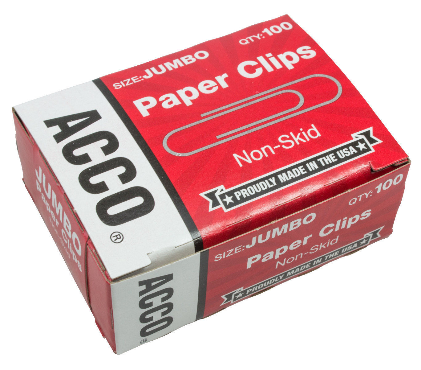 acco paper clips jumbo non-skid 100 count - 10 pack a7072585 - save