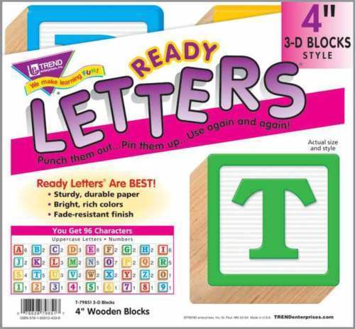 96 Classroom Display Board Ready Letters 3d Style Wooden Blocks 4 Inch