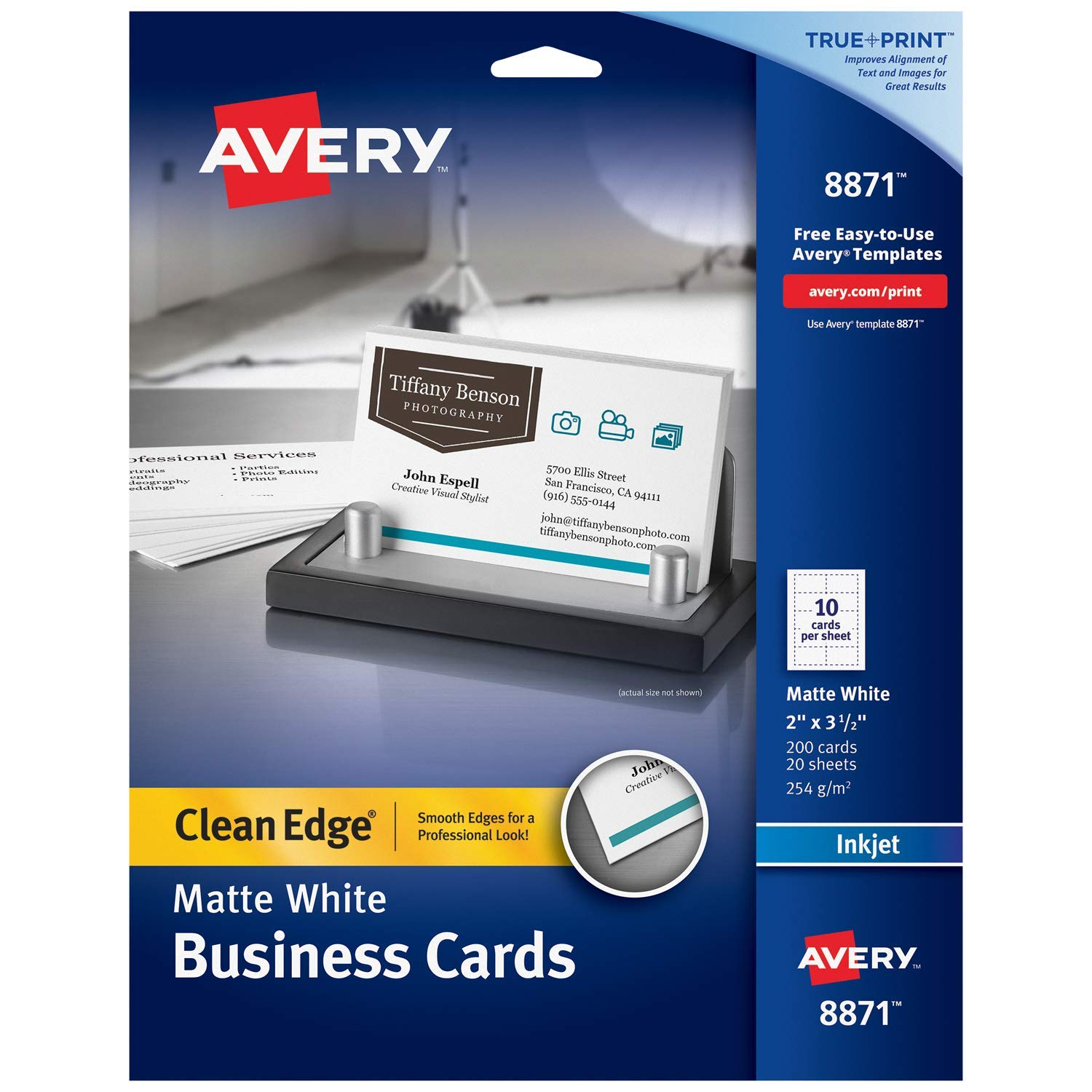 picture about Printable Printers named Avery Printable Company Playing cards, Inkjet Printers, 200 Playing cards, 2 x 3.5, New Benefit, Heavyweight (8871)